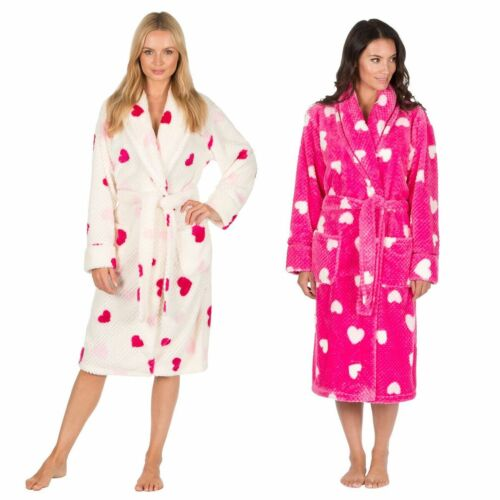 Ladies Heart Printed Soft Warm Wrap Dressing Gown HOT PINK or CREAM S to XL