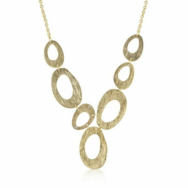 14K Yellow Gold GP Large Circle Chunky Textured Retro Necklace G31