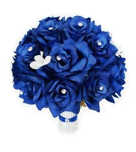 Details About Wedding Round Bouquet Royal Blue Artificial Roses With Your Rhinestone Initial