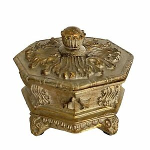 Vintage Trinket Octagon Engraved Ornate Footed Jewelry Box With Patina, Small