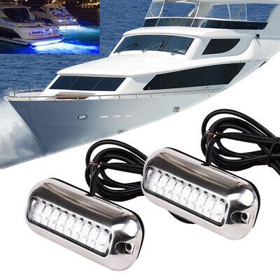 2X 12V 50W Blau Wasserdicht LED Bootsbeleuchtung Unterwasser Hecklicht Lampe