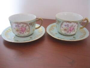 superba coppia di tazze piatti porcelaine de couleuvre tirage reserve vintage ebay. Black Bedroom Furniture Sets. Home Design Ideas