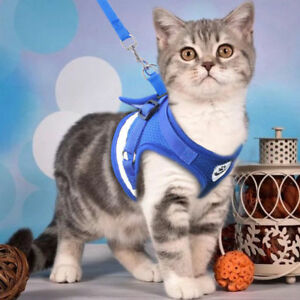 Soft-Leash-Small-Pet-Control-Harness-Dog-Cat-Mesh-Walk-Collar-Safety-Vest-CHK