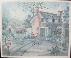 Lucretia-Restrepo-034-Farm-House-034-Signed-Numbered-Framed-Watercolor-Print