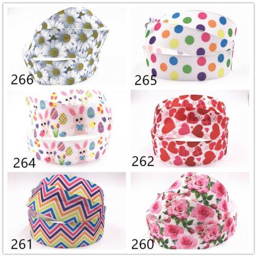 5-10yds 1/'/' Wholesale 25mm flower printed grosgrain ribbon Hair bow sewing