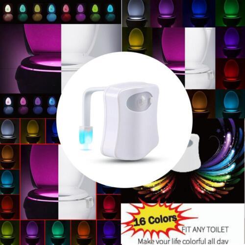 16 Farben LED Nachtlicht Körper Bewegung aktiviert WC Toilette Licht Lampe