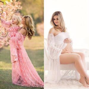 aa5dc38d5c8 Pregnant Women Off Shoulder Lace Long Maxi Dress Gown Maternity ...