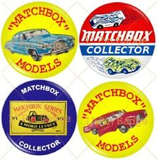 "Matchbox Moko Lesney Collectors   1"" Badge Set of 4 Pack NEW"