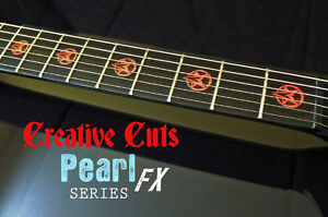 goat pentagram red pearl fret markers inlay set sticker decal for