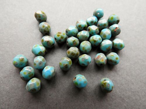 Czech fire polished glass beads picasso blue 6 mm pack of 25
