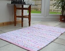 Small Pink Pastel Chindi Rag Rug Handmade Recycled Cotton 60x90cm 2x3ft Hemmed