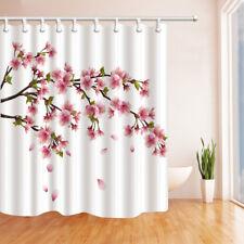 72x72/'/' Red Flower Rose Shower Curtain Fabric Waterproof Bathroom 12 Hooks 9511