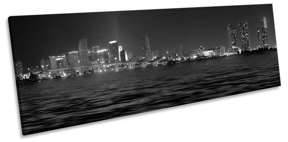 Miami Skyline City B&W Picture PANORAMA CANVAS WALL ART Print