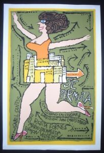 SWAPPING-HOUSES-Cuban-Silkscreen-Movie-Poster-Cuba-Art-by-Bachs-SE-PERMUTA