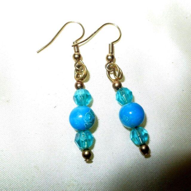 Beautiful vintage blue glass beaded drop earrings