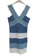 BNWT RARE OF LONDON Blue Frayed Denim Strip BANDAGE BODYCON DRESS SIZE UK 12