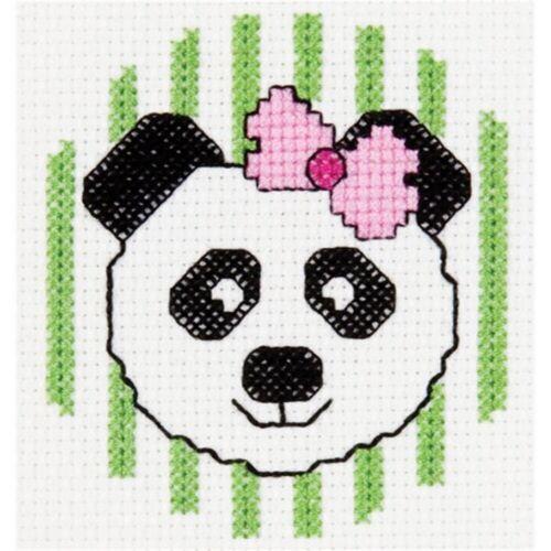 """14 Count Bucilla//my 1st Stitch Mini Counted Cross Stitch Kit 3/"""" Round-panda"""