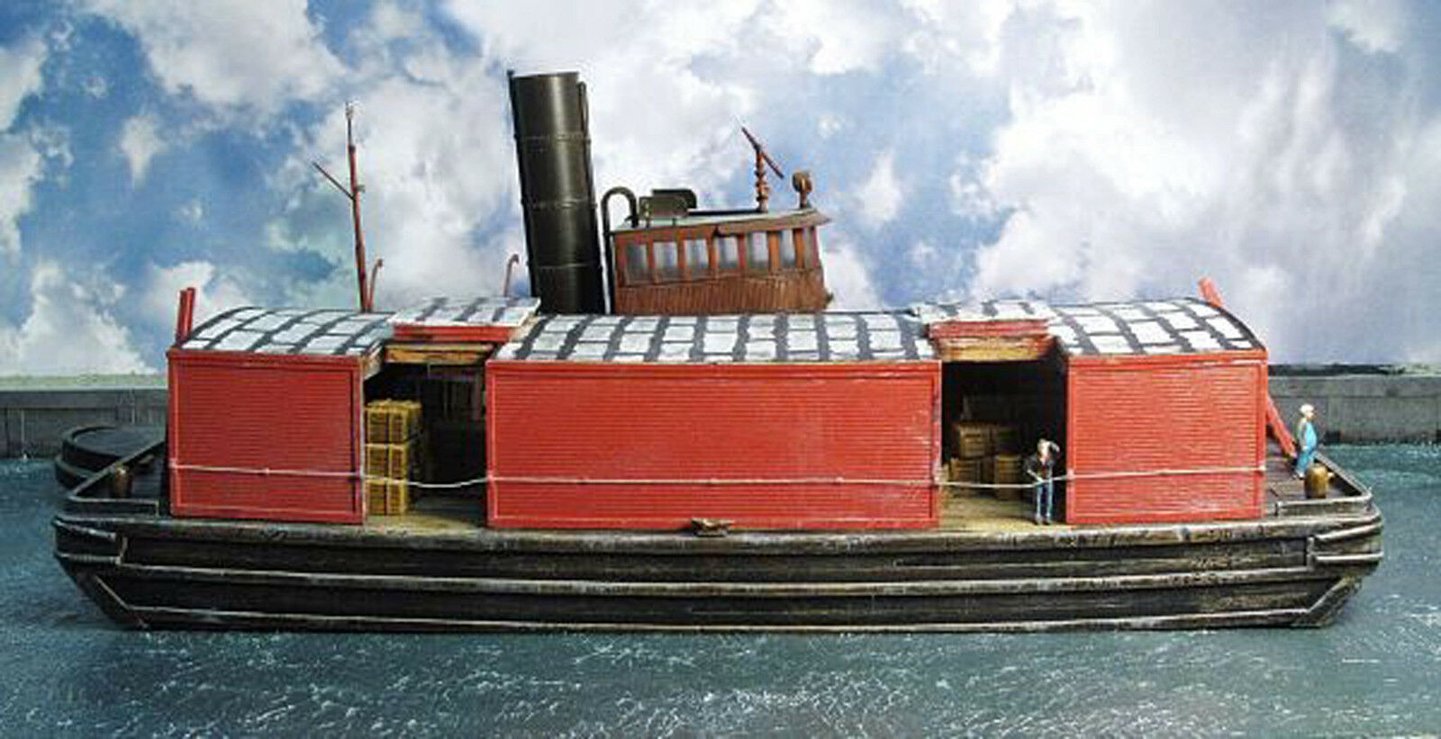 COVERED WOODEN BARGE HO Model Railroad Waterline Boat Unpainted Resin Kit FR168