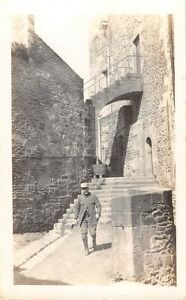 A-POLOXIE-LEAVING-THE-CHATEAU-POLISH-SOLDIER-REAL-PHOTO-POSTCARD-1910s