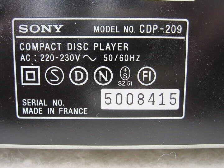 CD afspiller, Sony, CDP-209