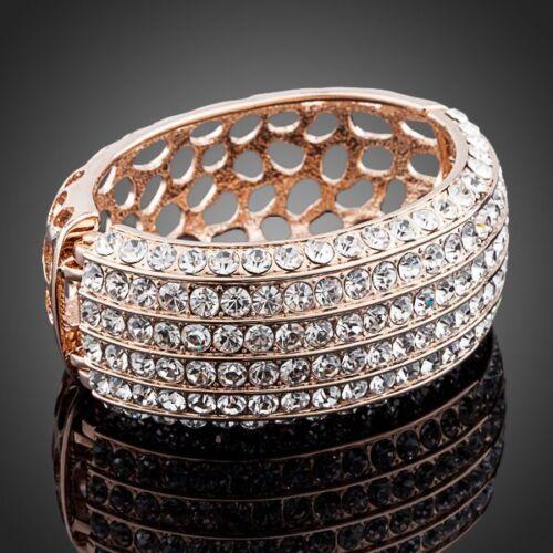 Nuevo Chapado en Oro Rosa chispeante brillante Piedras Pulsera Brazalete de Moda Blanco Claro