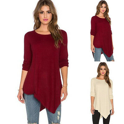 Sexy Women Ladies Crew Neck Cotton Long Sleeve Loose Casual T Shirt Tops Blouse