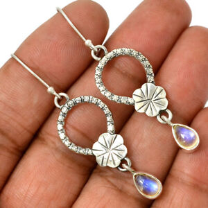 Rainbow-Moonstone-India-925-Sterling-Silver-Earrings-Jewelry-AE96872-155H-XGB