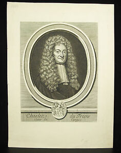 Charles-Of-Fresne-Sir-Of-Cange-Engraving-c1750-Print-Historian-Philologist