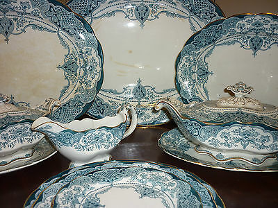 Antique LARGE JHW & Sons Hanley Welbeck Blue & White Dinner Service serves up 20