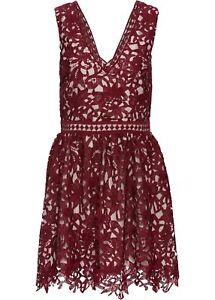 Kleid mit aufwendiger Spitze Gr 36 Rot Braun Damenklei ...
