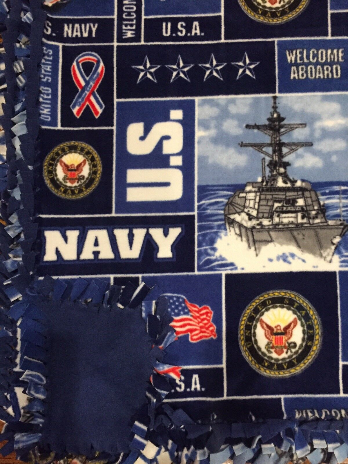 US NAVY United States NAVY Handmade Fleece Tie BLANKET   LARGE 55 x65
