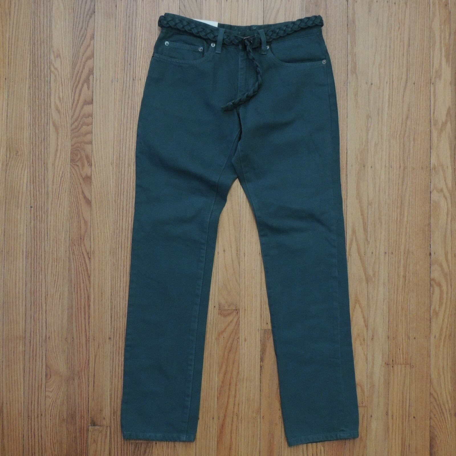 Opening Ceremony Skinny Fit Jeans Womens Green Braided Belg Size 32 NEW
