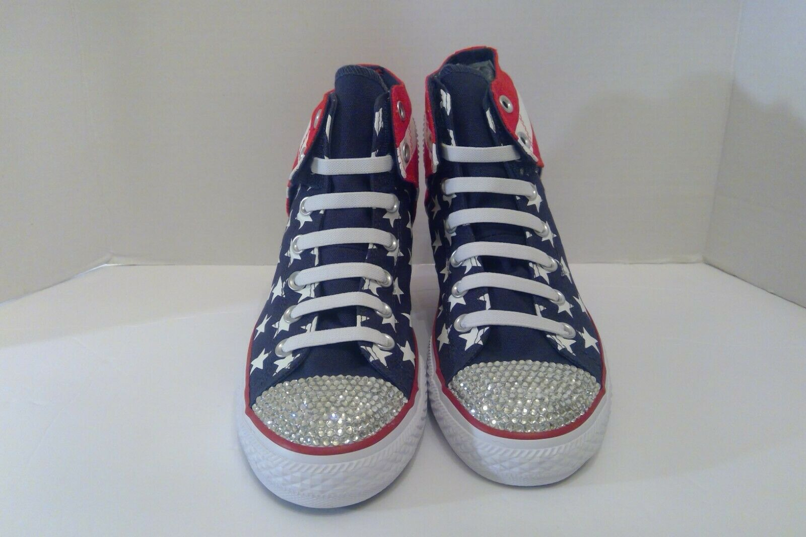 NEW Bling Red Wht bluee Converse Velcro All Star Chuck Taylor Youth Sz 6