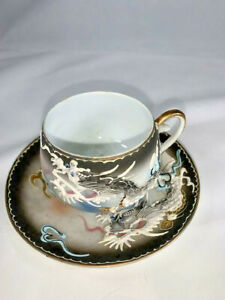 Japanese-Moriage-Art-Flying-Dragon-Tea-Cup-Saucer-Small-set-Raised-Detail