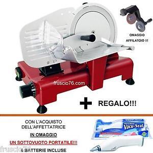 Affettatrice-Elettrica-Lusso-195-GL-RGV-Rossa-Omaggio-Affilatoio-Sottovuoto