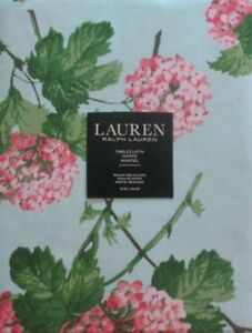 RALPH LAUREN~BOUQUET FLORAL~FRENCH CHOCOLATE MINK~70 INCH ROUND~TABLECLOTH~NEW!
