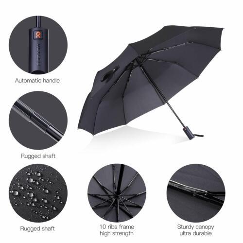 REYLEO Windproof Travel Umbrella with Teflon Coating Ultralight Only 320g Auto