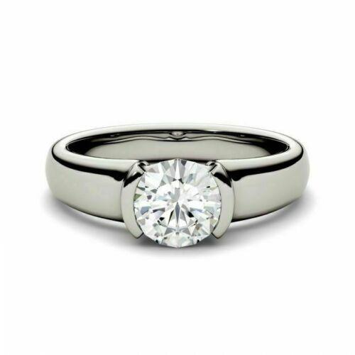 Half Bezel Engagement Solitaire Ring 1.30 Ct Wedding Ring 14k White Gold Finish