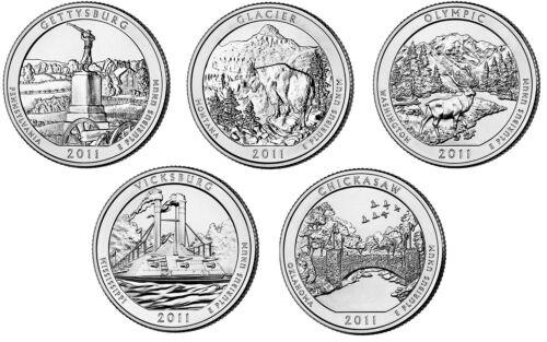 US QUARTERS AMERICA THE BEAUTIFUL ATB 2011 SET 5 COIN USA UNC