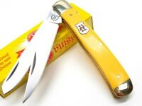 Kissing Crane Yellow 2 Blade Trapper Straight Folding Pocket Knife Kc5007