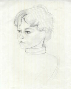 Mid-20th-Century-Graphite-Drawing-Portrait-of-a-Girl