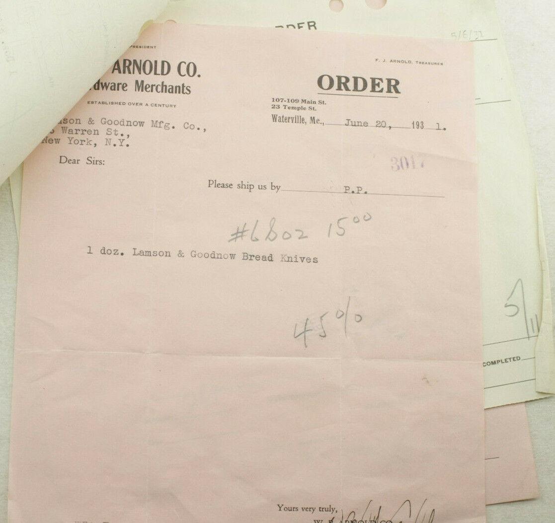 1931 Lamson Goodnow W B Arnold Co Waterville ME Bread Knives Ephemera P1338F