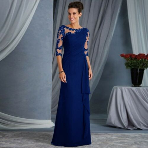 Women Lace Long Formal Evening Party Dresses Cocktail Prom Gowns Maxi Size S-2XL