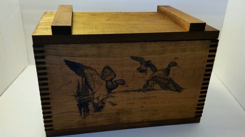 Caja De Municiones Con Diseño De Pato Mallard de madera de pino sólido pecho Tapa Con Bisagras  nuevo