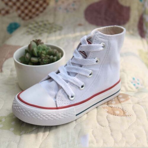 Kids High Top Canvas Casual Shoes Sneakers Breathable Running Athletic Walking