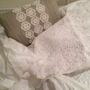Shabby King Size Simply Chic Ivory Embroidered Quilt Shams Crochet Throw Pillow eBay