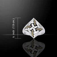 Celtic Four Point Knot Silver And Gold Ring By Peter Stone