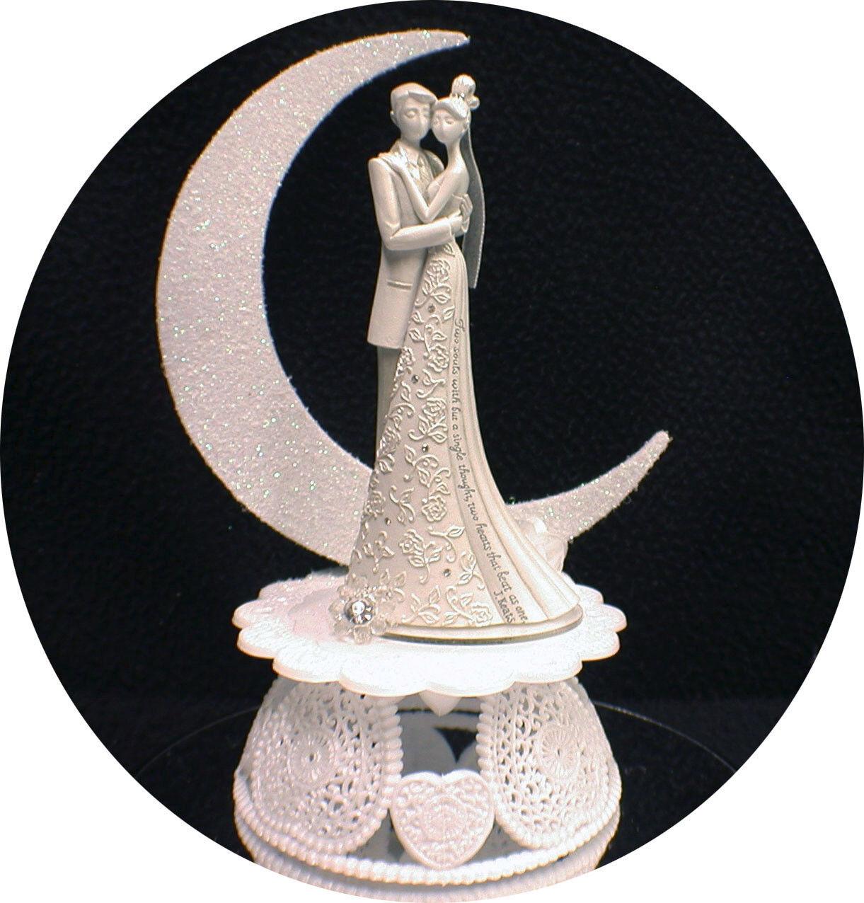 J J J Keats  2 Souls   Modern Comptempary Wedding Cake Topper Optional Glasses Flute 6751fd