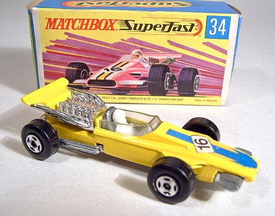 Matchbox No.34A Formula Racer yellow thin wheels boxed mint boxed