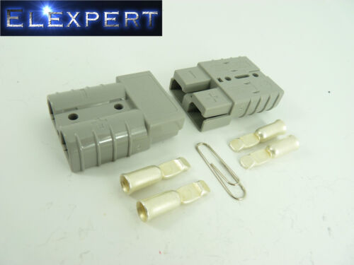 BATTERY CONNECTOR X2 GREY JUMP START SLAVE ASSIST ANDERSON PLUG 50 AMP